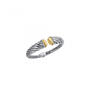 18Kt Gold And Silver Italian Cable Textured Graduated Cuff Bangele With Diamonds
