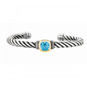 Silver And 18Kt Gold Italian Cable Cuff Bangle With Blue Topaz