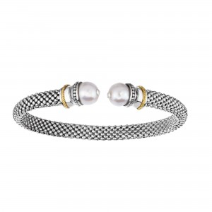 Silver And 18Kt Gold Textured Popcorn Cuff Bangle With Ball White Pearl