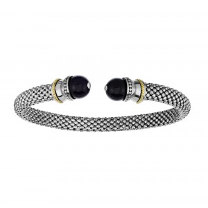 Silver And 18Kt Gold Textured Popcorn Cuff Bangle With Ball Black Onyx