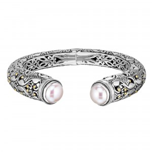 Silver And 18Kt Gold Graduated Cuff Bangle With Curved Design And Ball White Pearl