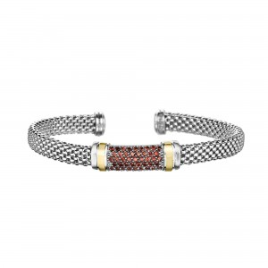 Silver And 18Kt Gold Popcorn Cuff Bracelet With Garnet