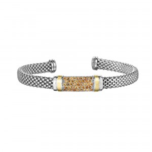 Silver And 18Kt Gold Popcorn Cuff Bracelet With Citrine