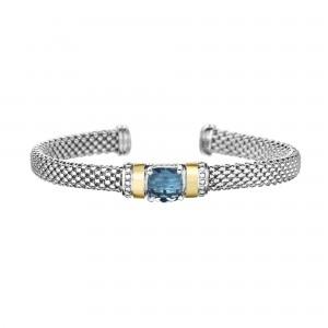 Silver And 18Kt Gold Popcorn Cuff Bracelet With Blue Topaz