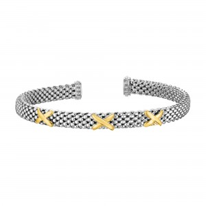 Silver And 14K Gold Textured Cuff X- Stationed Popcorn Bangle