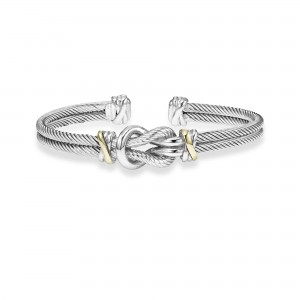 Italian Cable Hercules Knot Cuff Bracelet In Sterling Silver And 18K Gold