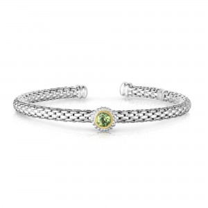 Sterling Silver And 18K Gold Popcorn Cuff Bangle With Round Peridot