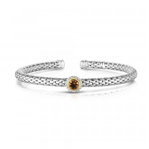 Sterling Silver And 18K Gold Popcorn Cuff Bangle With Round Citrine