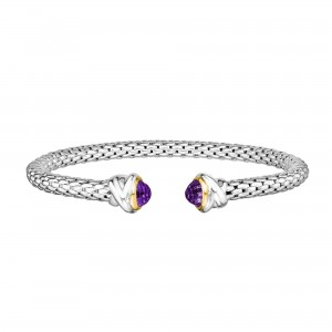 Sterling Silver And 18K Gold Popcorn Cuff Bangle With Amethyst