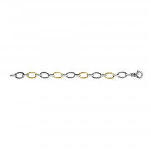 Silver And 18Kt Gold Italian Cable Small Link Bracelet