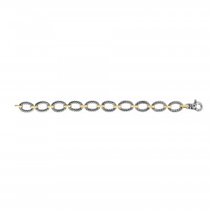 Silver And 18Kt Gold Italian Cable Oval Link Bracelet