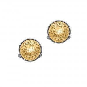 18Kt Gold And Silver Round Byzantine Cufflinks