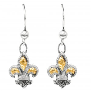 Silver And 18Kt Gold Drop Fleur De Lis Earrings