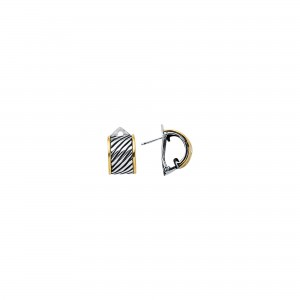 Silver And 18Kt Gold Italian Cable Small Earrings With Lever Back Clasp