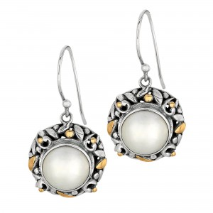 Silver And 18Kt Gold Byzantine Bamboo Leaves Round Drop Earrings With White Pearl