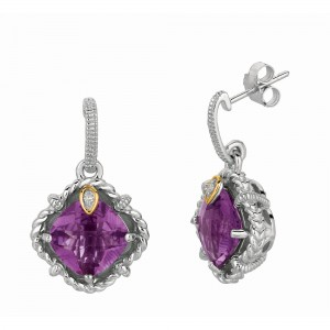 Silver And 18Kt Gold Gem Candy Drop Earrings With Amethyst And Diamond