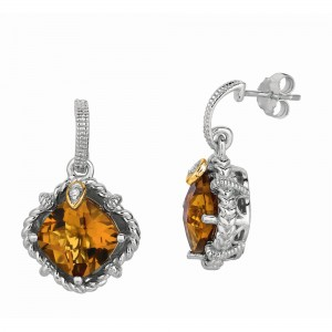 Silver And 18Kt Gold Gem Cnady Drop Earrings With Whisky Quartz And Diamonds