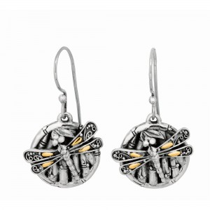 Silver And 18Kt Gold Oxidized Dragonfly Bamboo Earrings