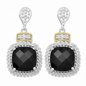 Silver And 18Kt Gold Textured Square Popcorn Drop Earrings With Push Back Clasp, Diamonds And Black Onyx