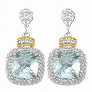 Silver And 18Kt Gold Textured Square Popcorn Drop Earrings With Push Back Clasp, Diamonds And Blue Topaz