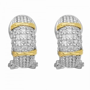 Silver And 18Kt Gold Textured Curve Popcorn Post Earrings With Omega Back Clasp And Diamonds