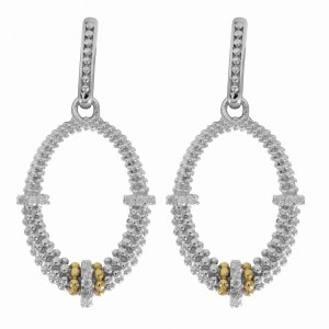 Silver And 18Kt Gold Textured Oval Popcorn Drop Earrings With Push Back Clasp And Diamonds