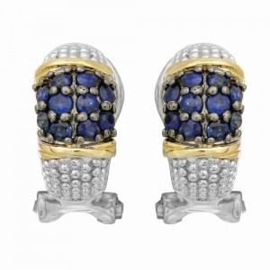 Silver And 18Kt Gold Textured Curve Popcorn Post Earrings With Omega Back Clasp And Blue Sapphires