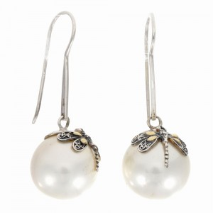 Silver And 18Kt Gold Dragonfly Drop Earrings With Shell Pearl