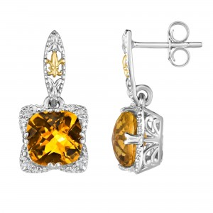 Silver And 18Kt Gold Gem Candy Drop Earrings With Citr Ine And Diamonds