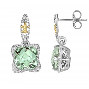 Silver And 18Kt Gold Gem Candy Drop Earrings With Green Amethyst And Diamonds