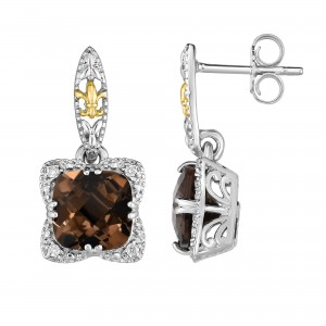 Silver And 18Kt Gold Gem Candy Drop Earrings With Smokey Quartz And Diamonds