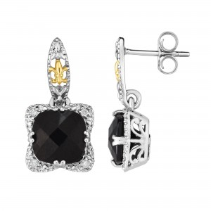 Silver And 18Kt Gold Gem Candy Drop Earrings With Black Onyx And Diamonds