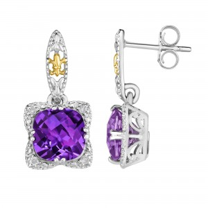 Silver And 18Kt Gold Gem Candy Drop Earrings With Amethyst And Diamonds