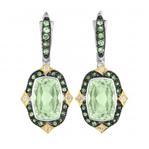 Silver And 18Kt Gold Euro Wire Drop Earrings With Green Amethyst,Tsavorite And Diamonds