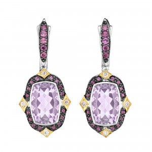 Silver And 18Kt Gold Euro Wire Drop Earrings With P Ink Amethyst, Rhodalite And Diamonds