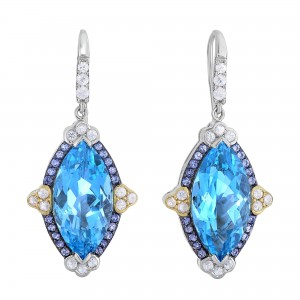 Silver And 18Kt Gold Gem Candy Marquise Drop Earrings With Blue Topaz, Iolite And White Sapphire