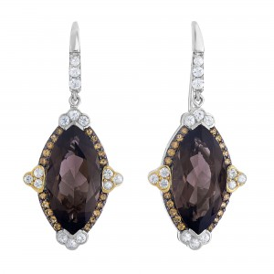 Silver And 18Kt Gold Gem Candy Marquise Drop Earrings With Smokey Quartz, Citr Ine And White Sapphire