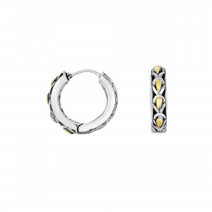 Silver And 18Kt Gold 13Mm Medium Filigree Huggie Style Earrings