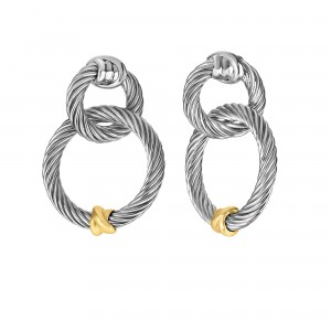 Silver And 18Kt Gold Italian Cable Double Link Drop Earrings