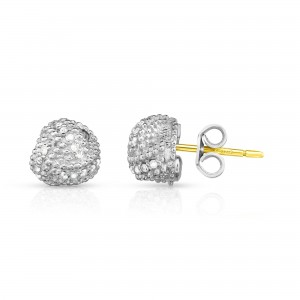 Sterling Silver Popcorn Love Knot Earrings With .18Ct Diamonds And 18K Gold Post
