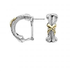 Sterling Silver & 18K Gold X Design Italian Double Cable Earrings