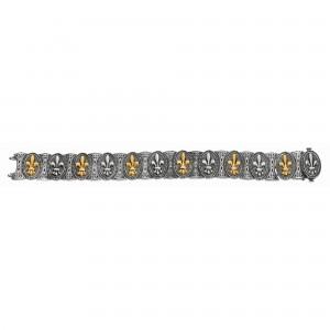 Silver And 18Kt Gold Fleur De Lis Bracelet