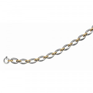 Silver And 18Kt Gold Rhodium Finish Textured Italian Cable Link Necklace With Spring Ring Clasp