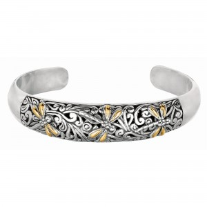 18Kt Gold And Silver Oxidized Dragonfly Domed Cuff Bangle.