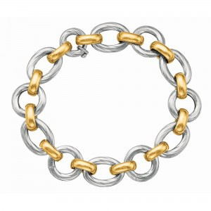 Silver And 18Kt Gold Rhodium Finish Shiny Italian Cable Link Bracelet