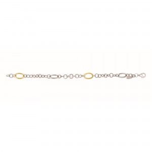 Silver And 18Kt Gold Italian Cable 38In Link Necklace