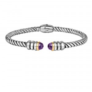 Silver And 18Kt Gold Italian Cable Cuff Bangle With Amethyst