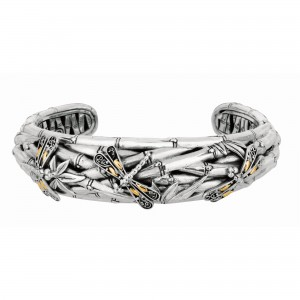 Silver And 18Kt Gold 12Mm Oxidized Dragonfly Bamboo Cuff Bangle