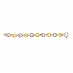 Silver And 18Kt Gold Rhodium Finish Italian Cable Link Bracelet With Spring Ring Clasp