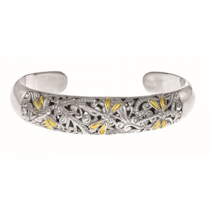 Silver And 18Kt Gold 8Mm Dragonfly Cuff Bangle With 0.25Ct. Diamonds